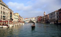 Gondolier in the Grand Canal Royalty Free Stock Photography