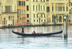 Gondolier on Grand canal Royalty Free Stock Image
