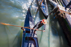 Gondolier on Grand Canal in Venice, Italy Stock Photos