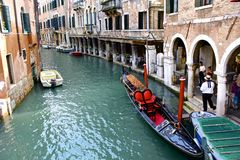 Gondolier and HIs Boat Royalty Free Stock Photo