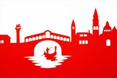 Gondolier passing under the Rialto Bridge, Venice Stock Image