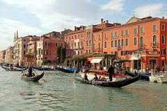 Gondolier rides gondola on the Grand Canal, Venice Stock Photos