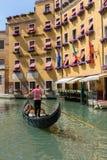 Gondolier rides gondola. Stock Photography