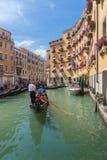 Gondolier rides gondola. Royalty Free Stock Photography