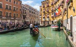 Gondolier rides gondola. Stock Photos