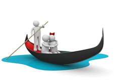 Gondolier and romantic couple in gondola Royalty Free Stock Images
