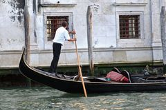 Gondolier rowing Stock Photo