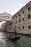 Gondolier under the Bridge of Sighs Stock Photos