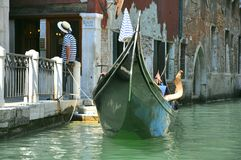 Gondolier  in Venice , Italy Royalty Free Stock Photo