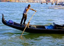 Gondolier in Venice Talks on His Cell Phone Stock Photos