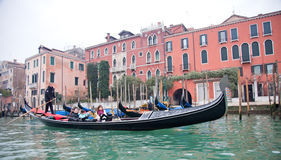 Gondoliero sailing in Venice Grand channel Royalty Free Stock Photos