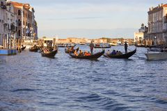 Gondoliers Венеции на гондолах с туристами на грандиозном канале, Венеции, Италии Стоковые Фото