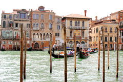 Gondoliers carrying tourists on Grand Canal, Venice Royalty Free Stock Photo