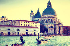 Gondoliers at Grand Canal in Venice Stock Photo