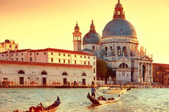Gondoliers at Grand Canal in Venice Royalty Free Stock Photo