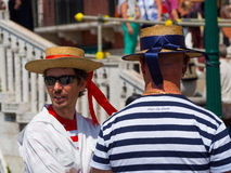 Gondoliers talking Stock Photo