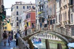 Gondoliers vénitiens Images libres de droits