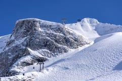 Gondolkabelbil på den Hintertux glaciären Arkivbilder