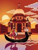 Gondolritt till och med Venedig på skymning Royaltyfri Fotografi