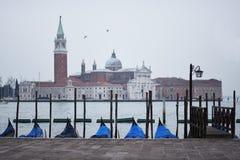 Gondols in waiting in Venice - San Giorgio Maggiore stock photos