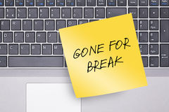 Gone for Break Note on Keyboard Stock Images