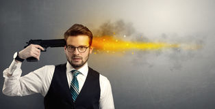 Gone businessman shooting his head with gun Stock Photos