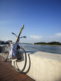 Gone fishing. Photo of a bike with fishing gear Royalty Free Stock Photos