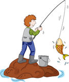 Gone fishing. Illustration of a man on a rock catching a fish Stock Photos