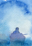 Gone fishing abstract watercolor painting Stock Photos