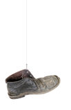 Gone fishing, caught old boot. Isolated on white. No fish today. Angling disappointment concept stock image
