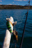 Gone Fishing Concept. Lures are ready to be used fishing promising waters Stock Image