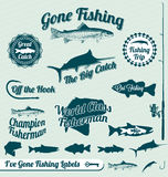 Gone Fishing Labels and Stickers. Collection of gone fishing labels and badges for the outdoorsman Royalty Free Stock Images