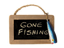 Gone fishing sign Royalty Free Stock Image