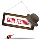 Gone fishing sign with hat and float eps 10 vector Stock Photo