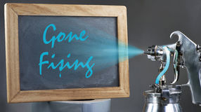 Gone Fishing Sign. Royalty Free Stock Photos