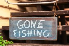 Gone fishing sign. In Malta royalty free stock image