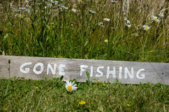 Gone Fishing sign Stock Image