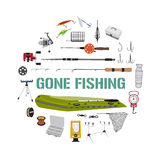 Gone fishing tackle icons round design concept. Fishing tackle flat icon set in circle shape. Fishing boat, rod, bait, lure and other gear and supplies abstract Royalty Free Stock Photography