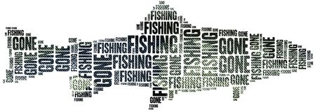 Free Gone Fishing. Word Cloud Illustration. Royalty Free Stock Images - 50255229