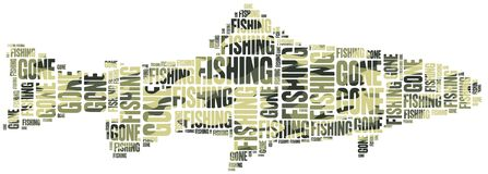 Gone fishing. Word cloud illustration. Stock Photo