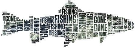 Gone fishing. Word cloud illustration. Gone fishing. Word cloud illustration related to fishing Royalty Free Stock Images