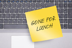 Gone for Lunch Note on Keyboard Royalty Free Stock Photos