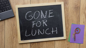 Gone for lunch written Royalty Free Stock Image