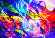 Gone With the Music. Colorful abstract digital art, with a guitar silhouette in the middle, a vision of music royalty free illustration