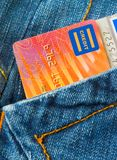 Gone Shopping. (Credit Cards In A Pocket Stock Photo