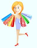 Gone shopping. Vector cartoon girl with bags Stock Images