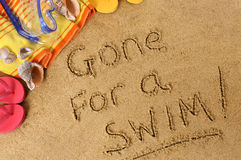 Gone for a swim vacation message Royalty Free Stock Photography