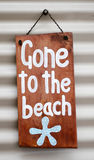 Gone to the beach. Sign on house Vector Illustration