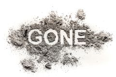 Gone word drawing in ash or dust as lost, disappear Stock Photos