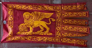 Gonfalone the flag of Venice. The red ancient flag of Venice - Italy Royalty Free Stock Photography
